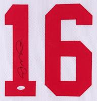 Joe Montana Signed 49ers 35x43 Custom Framed Jersey (JSA Hologram)(Imperfect) at PristineAuction.com