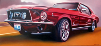 "Frank Karper Signed ""Mustang '67"" 31x62.5 Original Oil Painting on Canvas (PA LOA)"