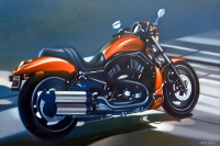 "Frank Karper Signed ""Harley Davidson"" 35x51 Original Oil Painting on Canvas (PA LOA)"