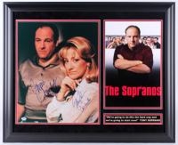 "James Gandolfini & Edi Falco Signed ""The Sopranos"" 27.5x33.5 Custom Framed Photo Display Inscribed ""Tony"" & ""Carmela"" (PSA LOA)"