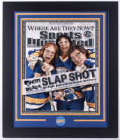 """Dave Hanson, Steve Carlson & Jeff Carlson Signed """"Slapshot"""" 23.5x 27.5 Custom Framed Photo Display (JSA COA)"""