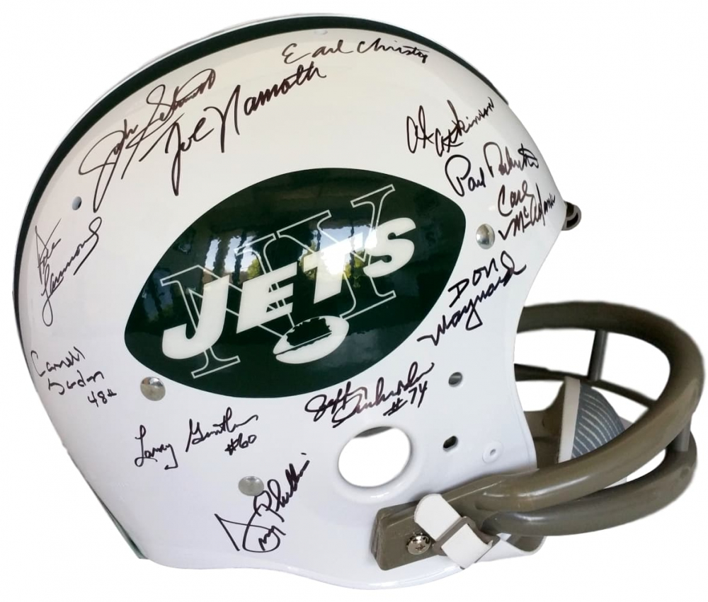 050b1c326c2 1969 New York Jets Full-Size Replica Throwback T/K Suspension Helmet Team-