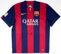 "Lionel Messi, Andres Iniesta & Luis Suarez Signed Barcelona Jersey Inscribed ""Leo"" (Icons COA)"