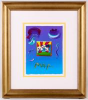 "Peter Max ""Cosmic Runner"" Signed 8.5"" x 11"" Original Acrylic Mixed Media Painting 1/1 (Custom Framed to 19"" x 22"") (Max LOA)"