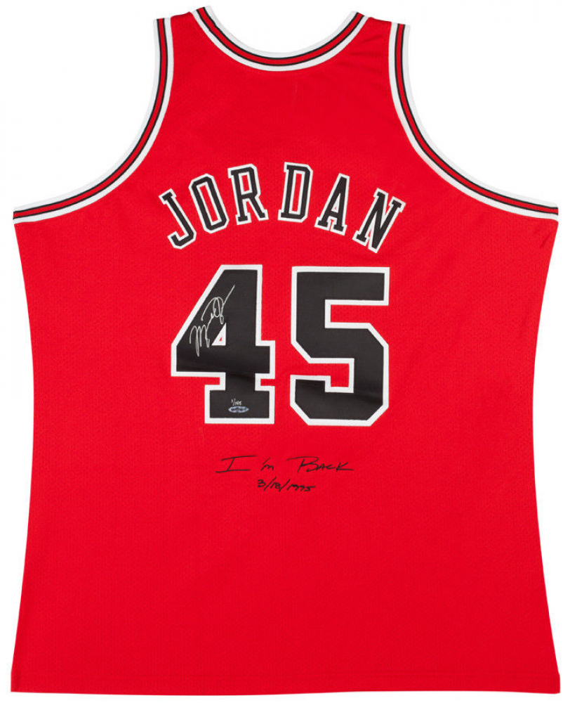 "Michael Jordan Signed LE Bulls Mitchell & Ness Jerey Inscribed ""I'm Back"" & ""3/8/1995"" (UDA COA) at PristineAuction.com"