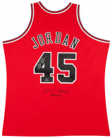 "Michael Jordan Signed LE Bulls Mitchell & Ness Jerey Inscribed ""I'm Back"" & ""3/8/1995"" (UDA COA) at PristineAuction.com"