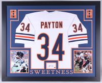 Walter Payton Signed Bears 35x43 Custom Framed Display with Jersey & Signed Index Card (Payton COA)