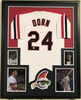 "Corbin Bernsen Signed ""Major League"" 34"" x 42"" Custom Framed Jersey Display (JSA COA)"