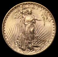 1924 $20 Saint-Gaudens Double Eagle Gold Coin at PristineAuction.com
