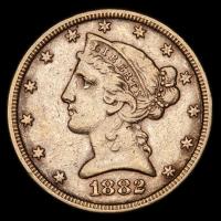1882 $5 Five Dollars Liberty Head Half Eagle Gold Coin