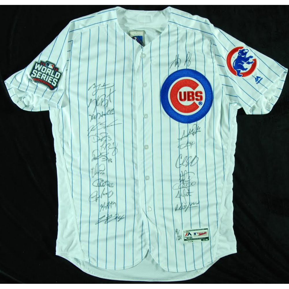 4eb2f58e8b5 2016 Chicago Cubs Team-Signed Chicago Cubs White Pinstripe Majestic  Authentic Jersey with (20) Signatures Including Kris Bryant