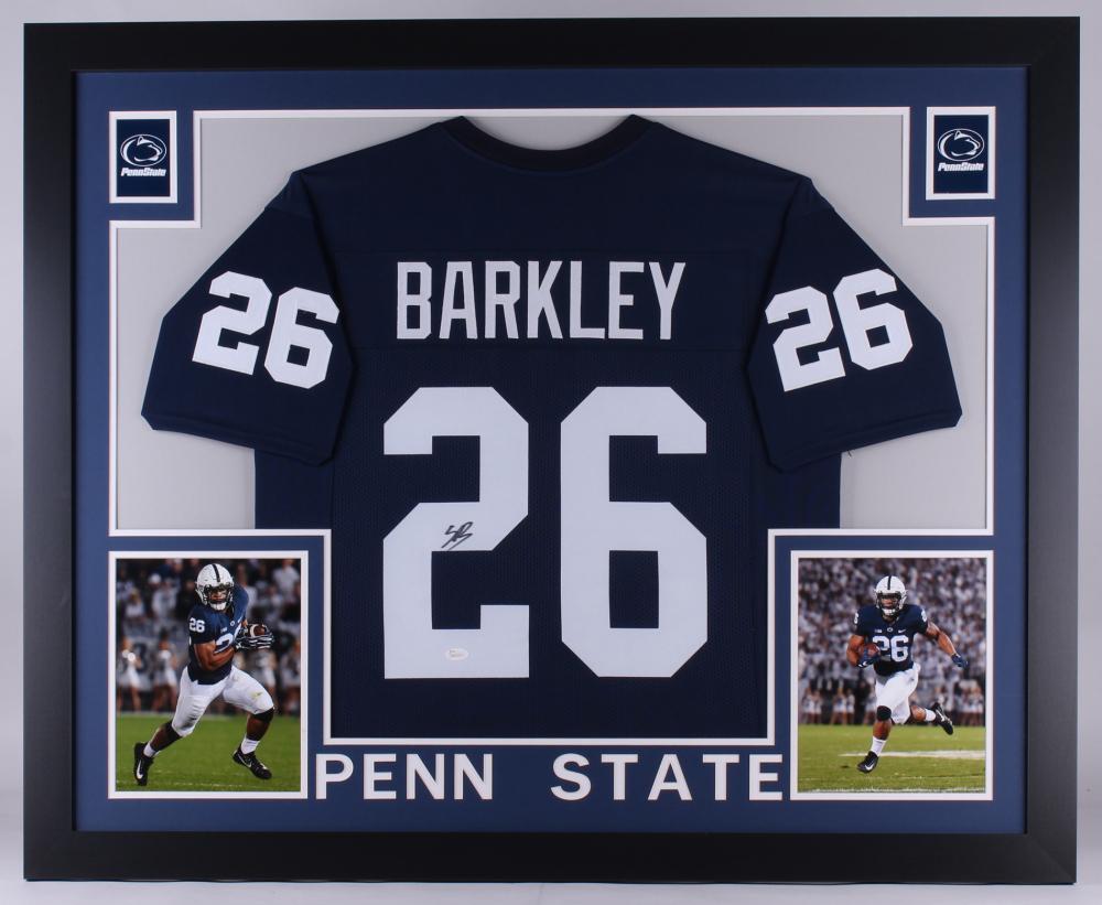 3a2e76944 Saquon Barkley Signed Penn State Nittany Lions 35x43 Custom Framed Jersey (JSA  COA) at