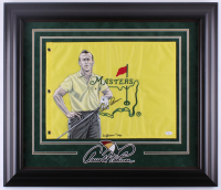 Arnold Palmer Signed 25x29 Custom Framed Hand-Painted Masters Pin Flag Display (JSA LOA)