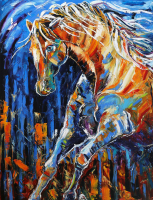 """Deep of Night"" 36x48x2 Original Horse Art by Laurie Pace"