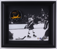"Bobby Orr Signed 'The Flying Goal' 13.5"" x 11.5"" Custom Framed Commemorative Hockey Puck Display (Great North Road Marketing COA)"