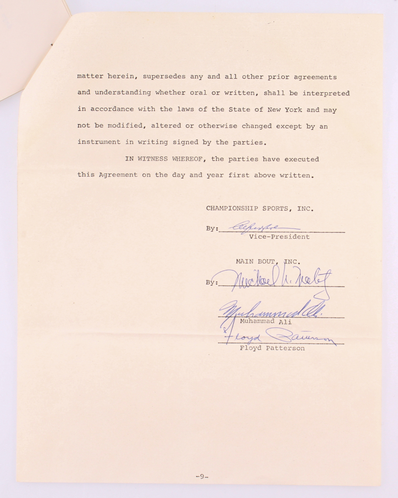 Online sports memorabilia auction pristine auction muhammad ali floyd patterson signed 1967 ancillary rights agreement psa aloa at pristineauction platinumwayz