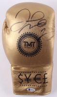 Floyd Mayweather Jr. Signed Gold TMT Boxing Glove (Beckett COA)
