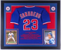 "Ryne Sandberg Signed Cubs 35x43 Custom Framed Career Highlight Stat Jersey Inscribed ""HOF 05"" (JSA COA)"