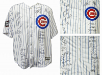 2016 Chicago Cubs Team-Signed Chicago Cubs White Pinstripe Majestic Authentic Jersey with (26) Signatures Including Kris Bryant, Anthony Rizzo, Ben Zobrist, Theo Epstein (Schwartz Sports COA & Fanatics Hologram)