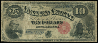 1880 $10 Ten Dollars Red Seal Legal Tender Large Size Bank Note Bill