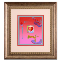 """Peter Max Signed """"Heart"""" 20x22 Custom Framed One-Of-A-Kind Acrylic Mixed Media"""