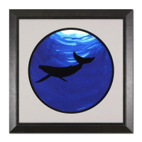 "Wyland Signed ""Whale"" 29x29 Custom Framed Original Watercolor Painting"