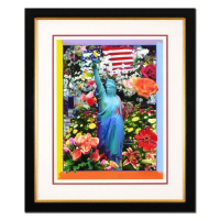 """Peter Max Signed """"Land of the Free"""" 29x35 Custom Framed One-Of-A-Kind Acrylic Mixed Media"""