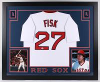 Carlton Fisk Signed Red Sox 35x43 Custom Framed Jersey (JSA COA)