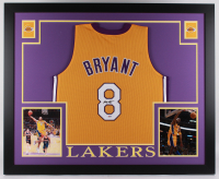 Kobe Bryant Signed Lakers 35x43 Custom Framed Jersey (PSA Hologram) at PristineAuction.com