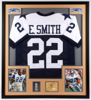 Emmitt Smith Signed Cowboys 34.5x38 Custom Framed Cut Display (JSA Hologram) at PristineAuction.com
