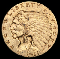 1911 $2.50 Indian Quarter Eagle Gold Coin at PristineAuction.com