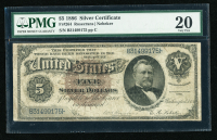1886 $5 Five Silver Dollars U.S. Silver Certificate Large Size Bank Note (PMG 20 Very Fine)