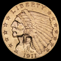 1911 $2.50 Indian Quarter Eagle Gold Coin