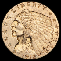 1912 $2.50 Indian Quarter Eagle Gold Coin