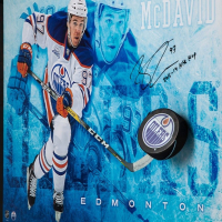 "Connor McDavid Signed Edmonton Oilers ""Commanding"" 16x24 Custom Framed Hockey Puck Break Through Display Inscribed ""2016-17 NHL MVP"" (UDA COA) at PristineAuction.com"