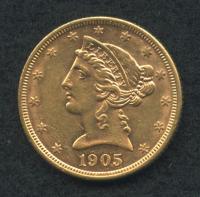 1905-S $5 Five Dollars Liberty Head Half Eagle Gold Coin