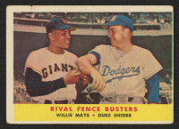 1958 Topps #436 Rival Fence Busters / Willie Mays / Duke Snider