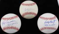 Lot of (3) Baseball Stars Signed Baseballs with Jeff Reardon, Bobby Thomson & Bobby Shantz (SOP COA)