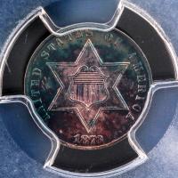 1873 3¢ Three-Cent Silver Trime (PCGS PR 63) - Rainbow Toning