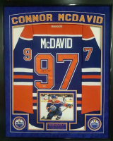 Connor McDavid Signed Oilers 36x44 Custom Framed Reebok Premier Jersey (UDA COA)