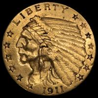 1911 $2.50 Indian Quarter Eagle Gold Coin