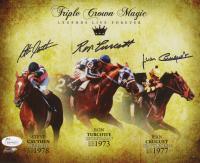 Steve Cauthen, Ron Turcotte & Jean Cruguet Signed 8x10 Photo (JSA COA)