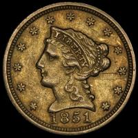 1851 $2.50 Liberty Head Quarter Eagle Gold Coin