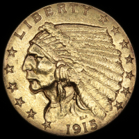 1915 $2.50 Indian Quarter Eagle Gold Coin