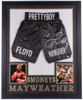 Floyd Mayweather Jr. Signed 35x43 Custom Framed Boxing Trunks Display (Beckett Hologram)