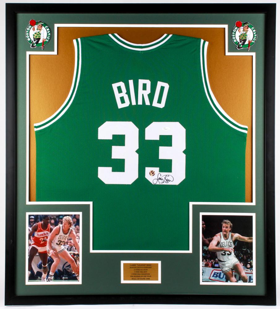 1ee03775b Larry Bird Signed Celtics 34x38 Custom Framed Jersey Display (JSA COA   Bird  Hologram)