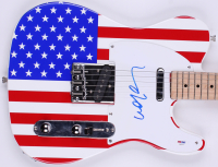 """Willie Nelson Signed Full-Size """"American Flag"""" Electric Guitar (PSA COA)"""
