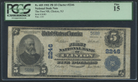1902 $5 Five Dollars U.S. National Currency Large Size Bank Note - The First National Bank of Clinton, New Jersey (PCGS 15)