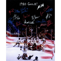 "1980 Team USA ""Miracle on Ice"" 16x20 Photo Team-Signed by (15) with Jim Craig, Mike Eruzione, Craig Patrick (Steiner COA)"