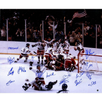 """1980 USA Men's Hockey 20x24 Photo Team Signed by (15) with """"1980 Gold"""" Inscription by Mark Wells (Steiner COA)"""